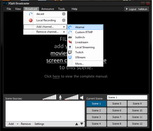 xSplit Broadcaster for video streaming